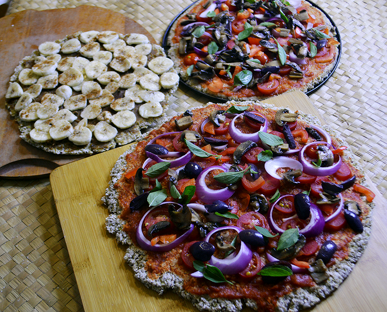 Massa de Pizza de Couve-flor + 2 Coberturas